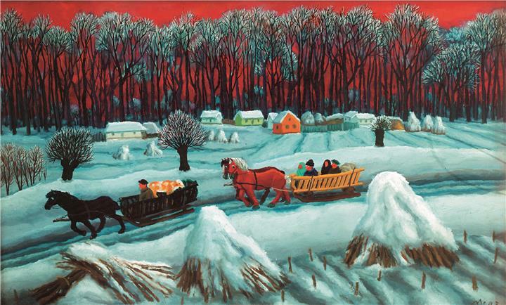 Franjo Mraz, Winter - driving wood, 1973